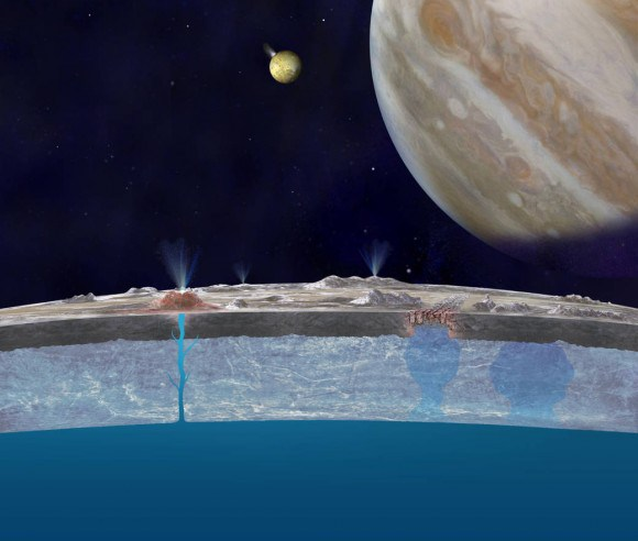 Artist's impression of chloride salts bubbling up from Europa's liquid ocean and reaching the frozen surface, where they are bombarded with volcanic sulfur from Io. Credit: NASA/JPL-Caltech