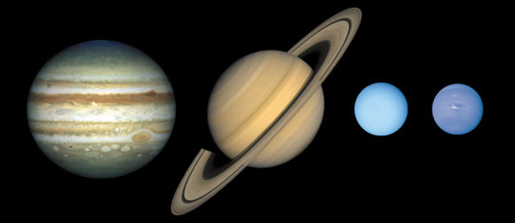 The outer planets of our Solar System at approximately relative sizes. From left, Jupiter, Saturn, Uranus and Neptune. Credit: Lunar and Planetary Institute