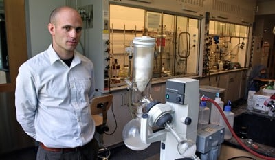 Seth Herzon in his lab, where he conducts extensive research on natural products synthesis and the development of new synthetic methods.