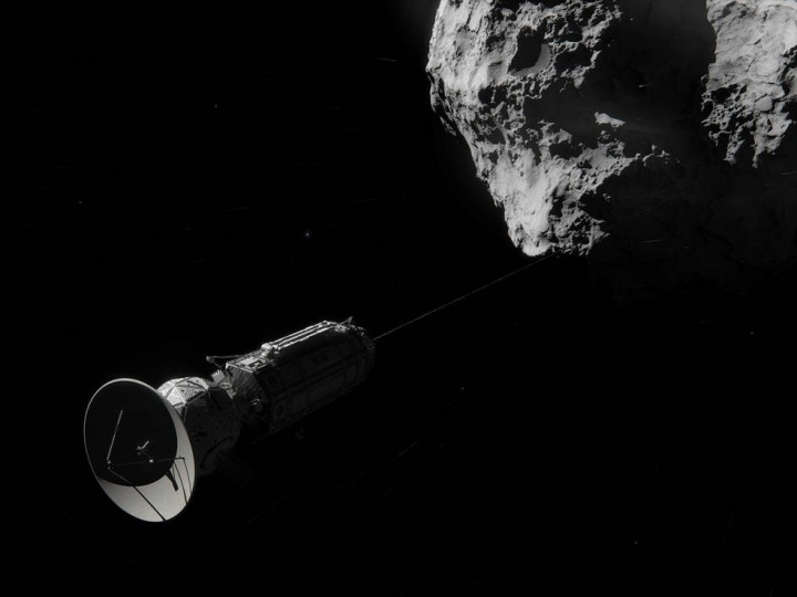 This artist concept shows Comet Hitchhiker, an idea for traveling between asteroids and comets using a harpoon and tether system. Credits: NASA/JPL-Caltech/Cornelius Dammrich