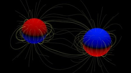 A cartoon of the two giant stars in the binary system. The polarity of the star's surface magnetic field, north or south, is indicated by red and blue respectively. Yellow lines indicate the magnetic field lines running from the stellar surfaces. Credit: Visualisation courtesy of Volkmar Holzwarth, KIS, Freiburg. Click for a