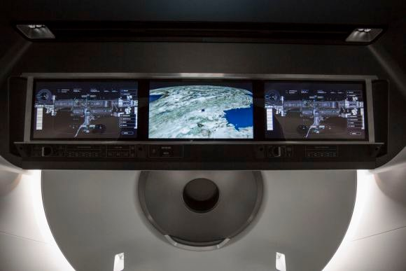 Crew Dragon's displays will provide real-time information on the state of the spacecraft's capabilities – anything from Dragon's position in space, to possible destinations, to the environment on board. Credit: SpaceX.