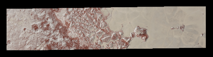 High-resolution images of Pluto taken by NASA's New Horizons spacecraft just before closest approach on July 14, 2015, reveal features as small as 270 yards (250 meters) across, from craters to faulted mountain blocks, to the textured surface of the vast basin informally called Sputnik Planum. Enhanced color has been added from the global color image. This image is about 330 miles (530 kilometers) across. For optimal viewing, zoom in on the image on a larger screen.  Credits: NASA/JHUAPL/SWRI