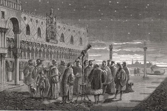 Galileo (1564 – 1642) would often show people how to use his telescope to view the sky in Saint Mark's square in Venice. Note the lack of adaptive optics. Credit: Public Domain