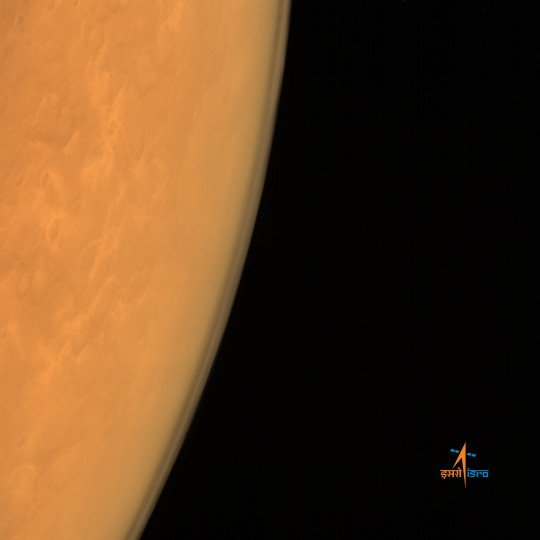 ISRO's Mars Orbiter Mission captures the limb of Mars with the Mars Color Camera from an altitude of 8449 km soon after achieving orbit on Sept. 23/24, 2014. Credit: ISRO