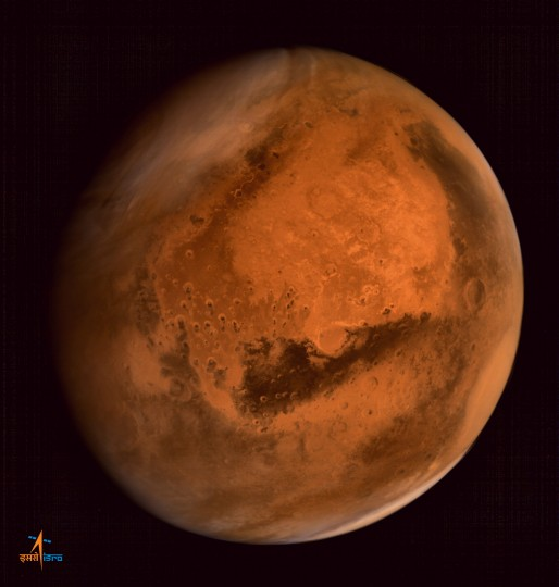 ISRO's Mars Orbiter Mission captures spectacular portrait of the Red Planet and swirling dust storms with the on-board Mars Color Camera from an altitude of 74500 km on Sept. 28, 2014. Credit: ISRO