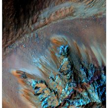 False color image recurring slope lineae flowing downhill on Mars. Georgia Tech researchers led a study that detected hydrated salts on these slopes at Hale Crater. Image credit: NASA/University of Arizona