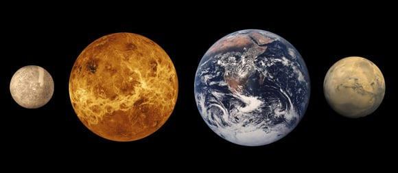 The terrestrial planets of our Solar System at approximately relative sizes. From left, Mercury, Venus, Earth and Mars. Credit: Lunar and Planetary Institute