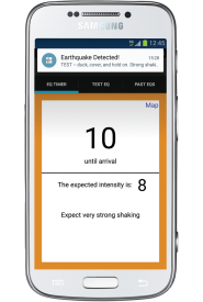A mock-up of an earthquake early warning (EEW) alert on a cellphone. An EEW system is under development but not yet available to the public. Image credit: K. Cantner, AGI, after Jennifer Strauss.