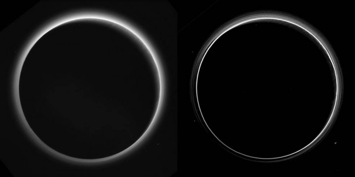 Two different versions of an image of Pluto's haze layers, taken by New Horizons as it looked back at Pluto's dark side nearly 16 hours after close approach, from a distance of 480,000 miles (770,000 kilometers), at a phase angle of 166 degrees. Pluto's north is at the top, and the sun illuminates Pluto from the upper right. These images are much higher quality than the digitally compressed images of Pluto's haze downlinked and released shortly after the July 14 encounter, and allow many new details to be seen. The left version has had only minor processing, while the right version has been specially processed to reveal a large number of discrete haze layers in the atmosphere. In the left version, faint surface details on the narrow sunlit crescent are seen through the haze in the upper right of Pluto's disk, and subtle parallel streaks in the haze may be crepuscular rays- shadows cast on the haze by topography such as mountain ranges on Pluto, similar to the rays sometimes seen in the sky after the sun sets behind mountains on Earth. Credits: NASA/Johns Hopkins University Applied Physics Laboratory/Southwest Research Institute