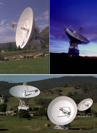 All communications with New Horizons – from sending commands to the spacecraft, to downlinking all of the science data from the historic Pluto encounter – happen through NASA's Deep Space Network of antenna stations in (clockwise, from top left) Madrid, Spain; Goldstone, California, U.S.; and Canberra, Australia. Even traveling at the speed of light, radio signals from New Horizons need more than 4 ½ hours to travel the 3 billion miles between the spacecraft and Earth. Credits: NASA