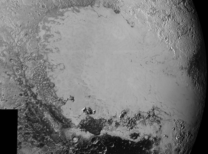 Mosaic of high-resolution images of Pluto, sent back from NASA's New Horizons spacecraft from Sept. 5 to 7, 2015. The image is dominated by the informally-named icy plain Sputnik Planum, the smooth, bright region across the center. This image also features a tremendous variety of other landscapes surrounding Sputnik. The smallest visible features are 0.5 miles (0.8 kilometers) in size, and the mosaic covers a region roughly 1,000 miles (1600 kilometers) wide. The image was taken as New Horizons flew past Pluto on July 14, 2015, from a distance of 50,000 miles (80,000 kilometers). Credits: NASA/Johns Hopkins University Applied Physics Laboratory/Southwest Research Institute