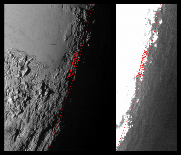This image of Pluto from NASA's New Horizons spacecraft, processed in two different ways, shows how Pluto's bright, high-altitude atmospheric haze produces a twilight that softly illuminates the surface before sunrise and after sunset, allowing the sensitive cameras on New Horizons to see details in nighttime regions that would otherwise be invisible. The right-hand version of the image has been greatly brightened to bring out faint details of rugged haze-lit topography beyond Pluto's terminator, which is the line separating day and night. The image was taken as New Horizons flew past Pluto on July 14, 2015, from a distance of 50,000 miles (80,000 kilometers). Credits: NASA/Johns Hopkins University Applied Physics Laboratory/Southwest Research Institute