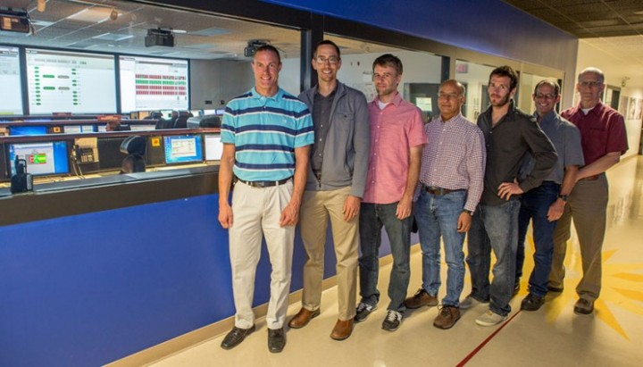 The hydrogen plasma phase transition experimental team, outside the NIF Control Room: (from left) Jeremy Kroll, Dayne Fratanduono, Ryan Rygg, Peter Celliers, Marius Millot, Rip Collins and Bruce Remington. Photos by Jason Laurea/LLNL (Download Image)