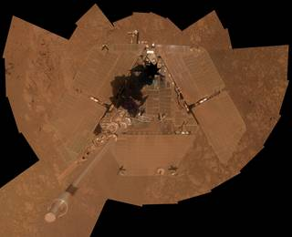 A dust storm on Mars in 2008 temporarily cuts the amount of sunlight reaching the solar array on NASA's Mars Exploration Rover Spirit, leaving the rover in a vulnerable state. Credits: NASA/JPL-Caltech/Cornell