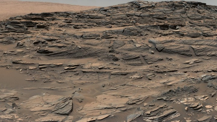 Large-scale crossbedding in the sandstone of this ridge on a lower slope of Mars' Mount Sharp is typical of windblown sand dunes that have petrified. Image credit: NASA/JPL-Caltech/MSSS