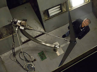 Al Bowers and the wind tunnel configuration used for researching a model of the Prandtl-d are seen from above. Credits: Submitted photo courtesy of David C. Bowman
