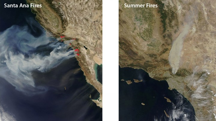 An October 2007 image, left, of Southern California wildfires shows how offshore Santa Ana winds control these events. Wind is less likely to dominate summer fires like the 2009 Station Fire, right. Images from the Moderate Resolution Imaging Spectrometer on NASA's Aqua satellite. Image credit: NASA