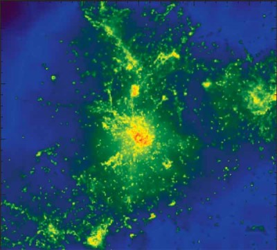 Multiple spots in a simulated galaxy glow brightly at submillimeter wavelengths of light. Image credit: UCSD