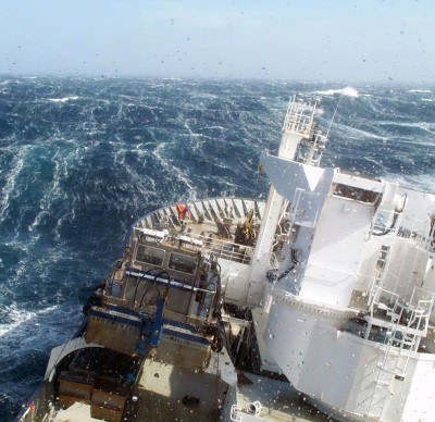 A research vessel ploughs through the waves, braving strong westerly winds in the Southern Ocean to measure levels of dissolved carbon dioxide in the surface ocean. Photo credit: Nicolas Metzl, LOCEAN/IPSL Laboratory
