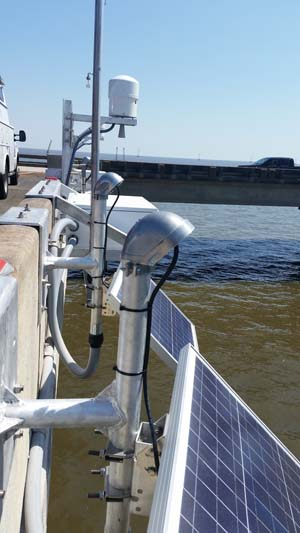 NOAA's new water level station uses microwave sensor technology to provide real-time water level data for improved storm surge forecasting. Image credit: NOAA