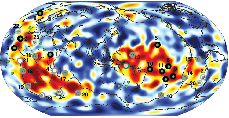 Most of the known volcanic hotspots are linked to plumes of hot rock (red) rising from two spots on the boundary between the metal core and rocky mantle 1,800 miles below Earth's surface.