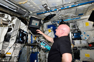 As part of his Year in Space, NASA astronaut Scott Kelly regularly takes a test battery for the Cognition investigation on the International Space Station. Credits: NASA