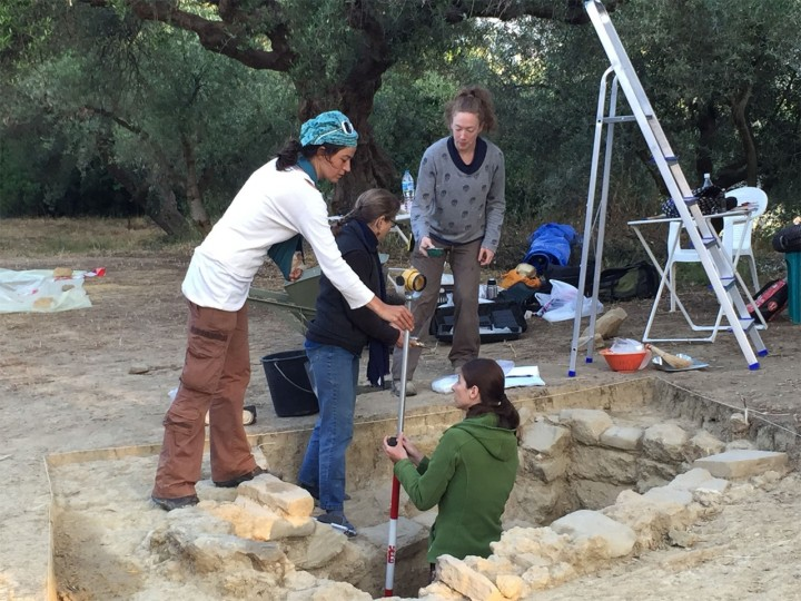 From left are Denitsa Nenova, University College London; UC's Sharon Stocker; Alison Fields, UC graduate student in classics; and in the trench is Jonida Martini, a UC graduate who earned her M.A. in classics. Image credit: University of Cincinnati, Pylos Excavations