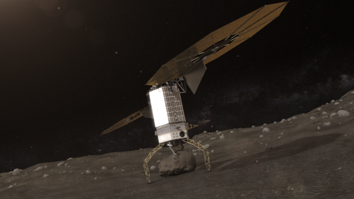 Artists concept of NASA's Asteroid Redirect Robotic Mission capturing an asteroid boulder before redirecting it to a astronaut-accessible orbit around Earth's moon. Credits: NASA