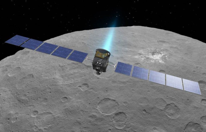 An artist's conception shows NASA's Dawn spacecraft flying above Ceres. This view incorporates actual imagery from the Dawn mission. Credit: NASA/JPL-Caltech/UCLA/MPS/DLR/IDA