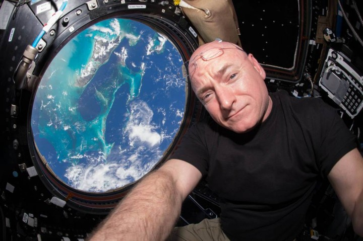 Scott Kelly, U.S. astronaut and commander of the current Expedition 45 crew, broke the US record for time spent in space on Oct. 16, 2015. Credit: NASA