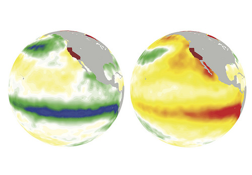 On the left, La Nina cools off the ocean surface (greens and blues) in the winter of 1988. On the right, El Nino warms up it up (oranges and reds) in the winter of 1997.