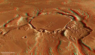 3D view of eroded crater in Mangala Valles