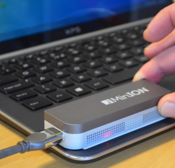 MinION is a portable sequencing DNA device. Image credit: TGAC