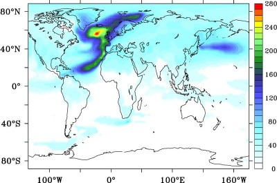 Recovery time in years, defined as the time needed for surface air temperature to recover its values from 1990-2000. Image courtesy of The University of Southampton
