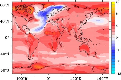 Temperature anomaly in degrees Celsius after 95 years from the onset of an AMOC collapse. Image courtesy of The University of Southampton