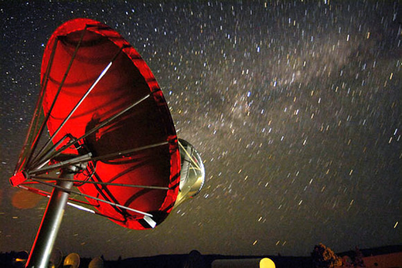 One of the 42 dishes in the Allen Telescope Array that will remain trained on KIC  8462852 through the end of next week gathering fresh data on the enigmatic star. Credit: Seth Shostak / SETI Institute
