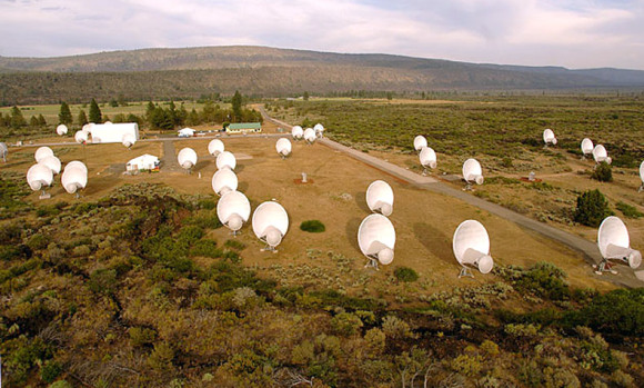 "The Allen Telescope Array (ATA) is a ""Large Number of Small Dishes"" (LNSD) array designed to be highly effective for simultaneous surveys undertaken for SETI projects (Search for Extraterrestrial Intelligence) at centimeter wavelengths. Credit: Seth Shostak / SETI Institute"