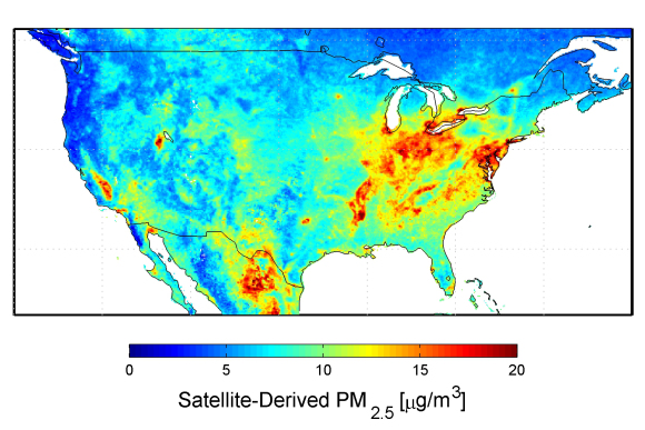 U.S. satellite-derived map of PM2.5 (fine particulate matter which includes sulfates and soot) averaged over 2001-2006. Credit: Dalhousie University, Aaron van Donkelaar