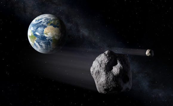 Near-Earth Asteroids (NEO) of large size can potentially orbit close to Earth, making them Potentially Hazardous Objects (PHO). Credit: ESA
