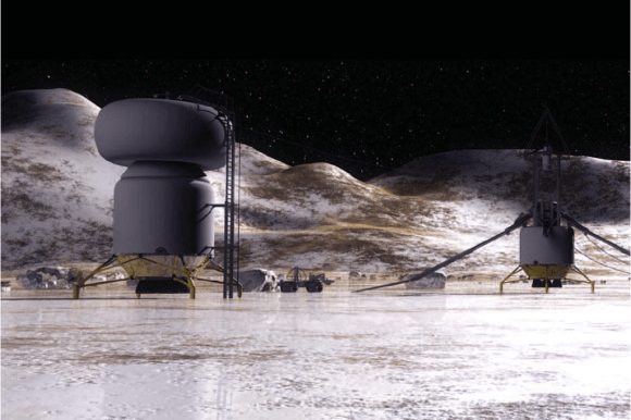 Artist's impression of a base on the icy surface of Callisto. Credit: NASA