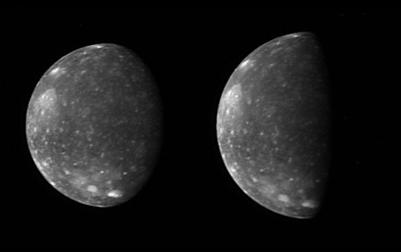 New Horizons Long Range Reconnaissance Imager (LORRI) captured these two images of Jupiter's outermost large moon, Callisto, during its flyby in February 2007. Credit: NASA/JPL