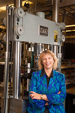 Carol Adkins of Sandia National Laboratories was named a distinguished alumna by the University of New Mexico's School of Engineering. (Photo by Randy Montoya) Click on the thumbnail for a high-resolution image.