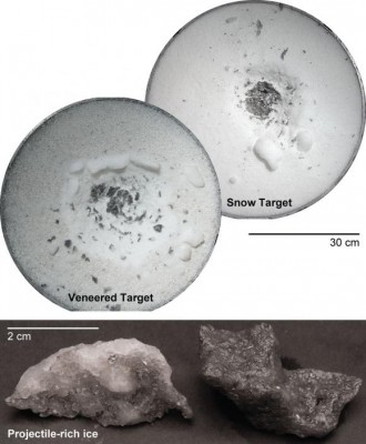 Experiments using a high velocity cannon suggest that when asteroids hit targets that are icy or made of porous silicate materials, much of the impact material stays in the crater. The findings have implications for the surface composition of the dwarf planet Ceres. Image credit: NASA Ames Research Center