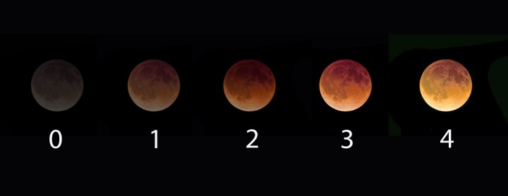 "Lunar eclipse brightness is rated on the Danjon scale where ""0"" equals a dark gray totality and ""4"" a bright, coppery yellow. Credit: Bob King"
