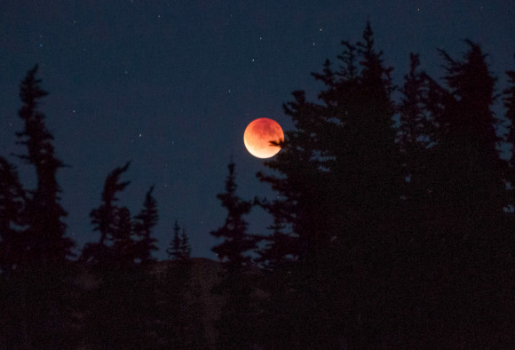 The September 17, 2015 total lunar eclipse was darker than expected. Several factors including the Moon's location in Earth's shadow and volcanic dust may have been at play. This photo was taken in Washington's Olympic National Park during totality. Credit: Rick Klawitter