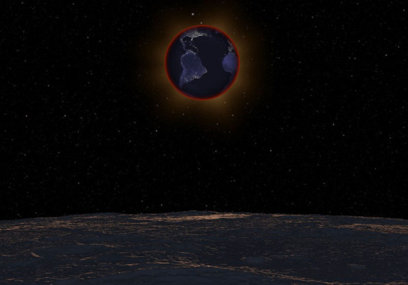With the lunar horizon in the foreground, the Earth passes in front of the Sun on September 27, 2015 in this simulation, revealing the red ring of sunrises and sunsets along the limb of the planet responsible for illuminating the Moon during the eclipse. The clarity of the stratosphere at eclipse time can greatly affect lunar brightness during totality. The Earth and Sun are in Virgo for observers on the Moon with the bright star Beta Virginis at top. Click to see the video. Credit: NASA's Scientific Visualization Studio