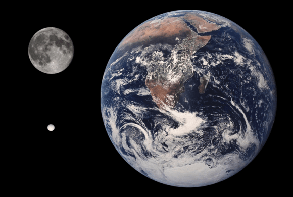Size comparison between the Cronian moon Enceladus, the Moon, and Earth. Credit: NASA/JPL-Caltech/Tom Reding
