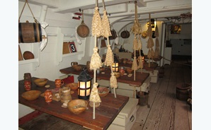 Students can tour below deck on the HMB Endeavour to see what life was like for the sailors on board.
