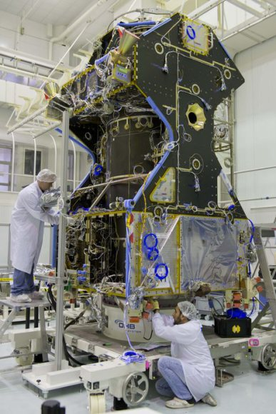 The ExoMars Trace Gas Orbiter in the lab. Image credit: ESA